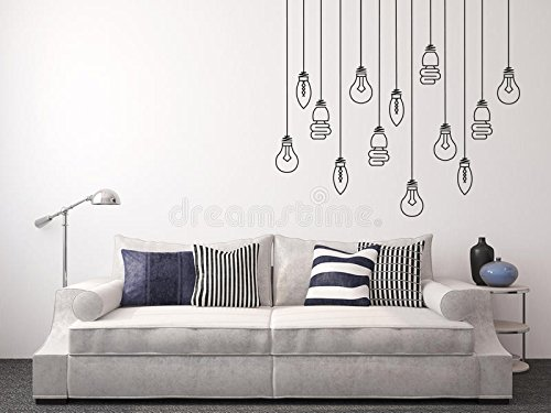"""Light Bulbs Hanging - Mural Wall Decal for Home Bedroom Living Room Removable Wall Stickers (J72) (Wide 20""""x18"""" Height)"""