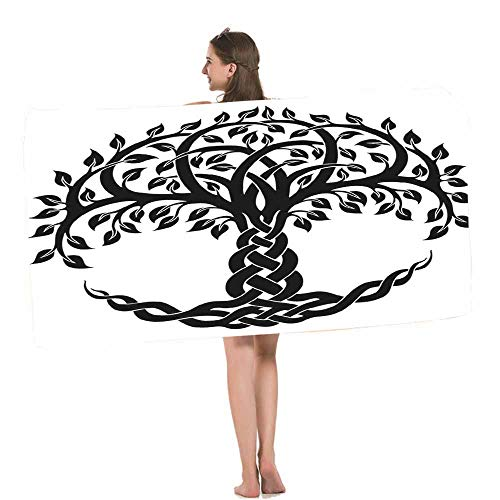 HOSNYE Celtic Tree of Life Beach Towel Decorative Round Celtic Tree of Life Vector Ornament Soft Highly Absorbent Bath Towels for Swimming, Sports, Beach, Gym, Bathroom