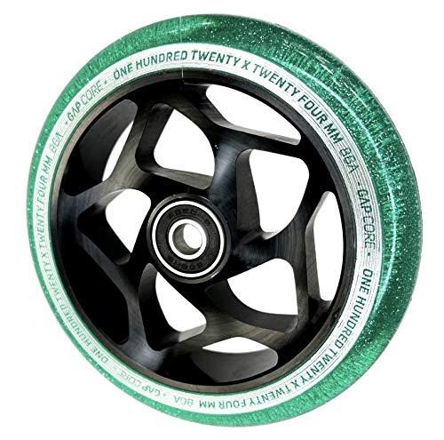 Blunt Gap Core - Rueda para patinete de acrobacias Abec9 de 120 mm + pegatina Fantic26 (negro/Pu Jade verde brillante transparente)