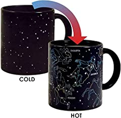 10oz Ceramic Mug - This mug is perfect for tea, espresso, capuccino, and anything else the star watcher in you desires. Disappearing mugs are microwave safe, hand wash only. Heat Activated - Pour in hot liquid and the constellations magically appear....