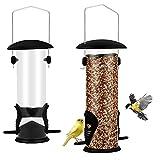 Comedero para pájaros, comedero para pájaros al aire libre, comedero de semillas mixtas, tubo de plástico reciclado para colgar pájaros, utilizado para pájaros de jardín y aves silvestres (negro)