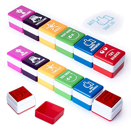 PracticOffice - Pack 6+6 Sellos Motivación para Niños y Jovenes, Ideal Padres y Profesores. Euskera e Inglés
