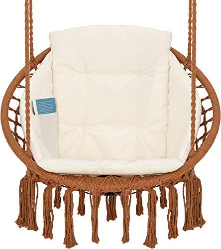 Silla Colgante con Cojín, Compartimento para Libros y Funda - Sillon Colgante Carga hasta 150 kg - Silla Hamaca Colgantes para Interior y Exterior (jardín) VITA5 (Marrón)