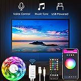 Alexa USB Tiras LED TV 3M, Luces de LED WiFi inteligente Bluetooth Sync con Música, Control de App y Voz Compatible con Alexa y Google Home,Tiras LED TV para 40-60in HDTV/PC