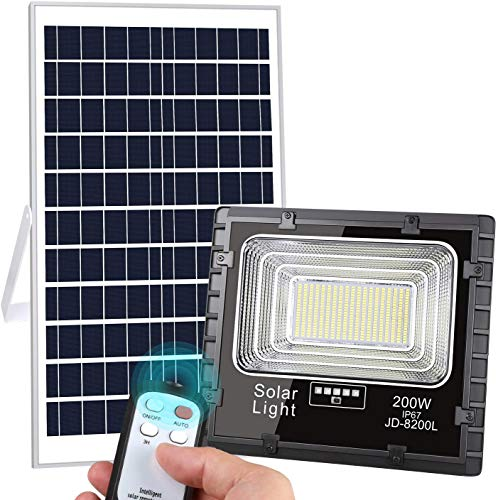 LEDMO Upgraded 200W LED Solar Flood Lights Outdoor 400LED 10000Lumens Dusk to Dawn Solar Powered Floodlight Waterproof IP67 with Remote Control Super Bright 5000K for Backyard|Garage|Driveway|Court