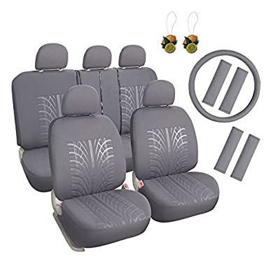 Auto Cloth 17pcs Car Seat Covers Full Set Front + Rear Grey with Airbag Universal Fits Trucks SUV - FREE Steering Wheel Cover/Shoulder Pads