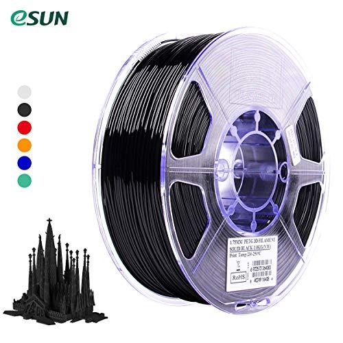 Leepus eSUN PETG 1,75 mm Materiali di consumo per la stampa di filamenti per stampanti 3D Precisione dimensionale: +/- 0,05 mm 1 kg (2,2 libbre) Ricariche per materiale della bobina Nero solido