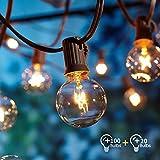 Lichterkette Außen,Lichterkette Gluehbirne Aussen,OxyLED G40 100ft 30m Lichterkette Garten,IP44 Wasserdicht für Haus, Garten, Patio, Party,...