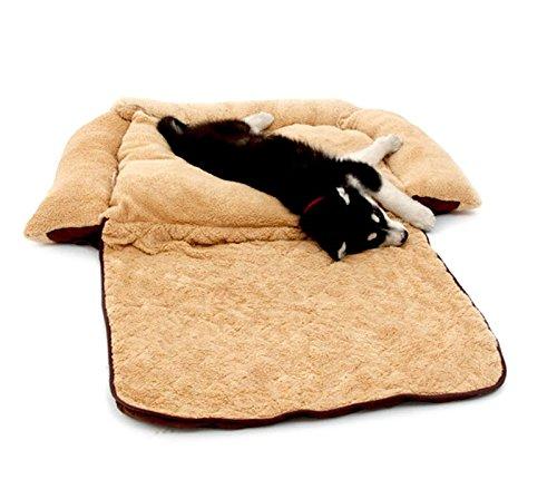 MEDIA WAVE store Poltroncina allungabile Cani Doppia Funzione Cuccia Morbida 112x55x18 di Colore Beige