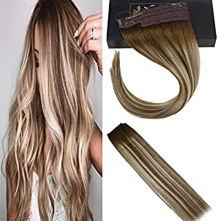 Sunny 12 Inch Hidden Halo Remy Human Hair Extensions Blonde Balayage Color #6 Brown Fading to Platinum Blonde Highlighted One Piece 80g Hair Extensions Halo Wire Double Weft Hair Extensions