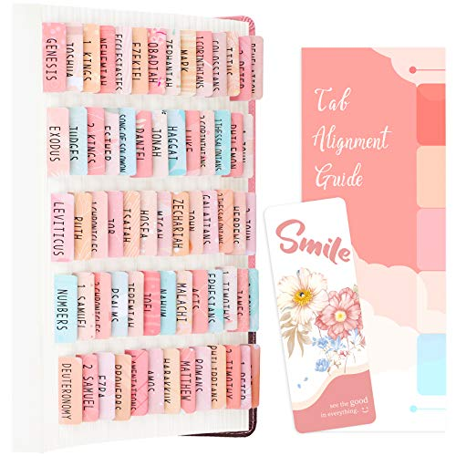 PAIVSUN Bible Tabs for Study Bible, Bible Journaling Supplies Christian Gift for Women, 66 Bible Index Tabs Old and New Testament, 14 Blank Tabs, Large Print Bible Book Tabs for Women Kids - Pinkbrown