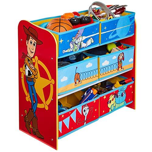 Worlds Apart Toy Story 4 Étagère de Rangement pour Jouets avec 6 caisses pour Enfants, 30x63,5x60
