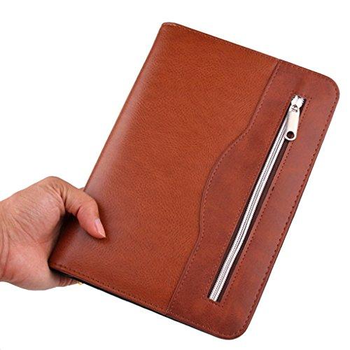 Witery Portfolio A5 Notebook 25 x 18 cm Schoolagenda 2019 Notitieboek, rekenmachine, zakrekenmachine, met ritssluiting voor conferentie, leraren Bruin