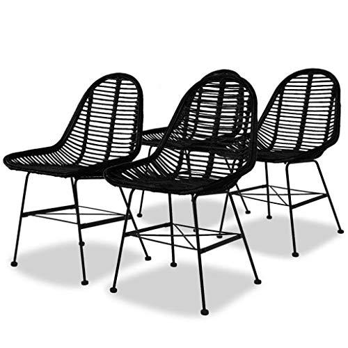 Cikonielf 4 sillas de jardín de ratán natural, sillas de relax con...