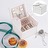 Vlando Akoya Two-Tier Small Jewlery Box, Daily Wearing Jewelries Organizer, Travel Accessories - White
