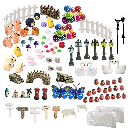 INHEMI 111 Pieces Fairy Garden Accessories Outdoor, Miniature Garden Ornaments Decorations Kit for DIY Fairy Garden, Miniature House, Dollhouse Decoration