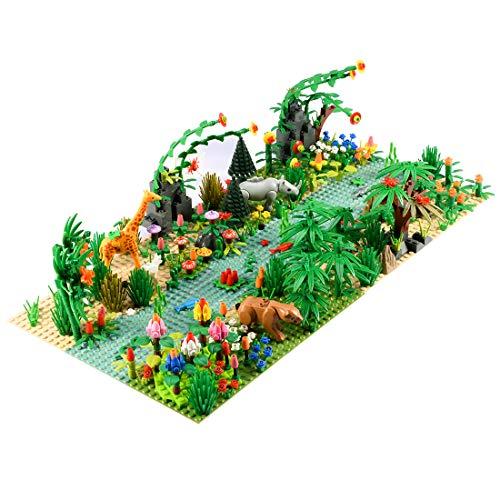 BGOOD Juego de accesorios para paisajes personalizados con placas de construcción, 502 unidades, bosque tropical tropical, juguete con árboles y animales, compatible con Lego