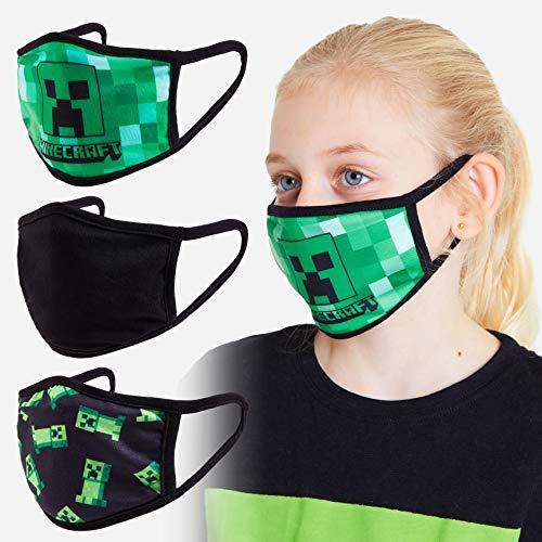 Minecraft Mundschutz Kinder, Mundschutz Maske Jungen und Mädchen 3er Pack, Creeper Design Maske Kinder Waschbar, Mund und Nasenschutz Kinder und Teenager