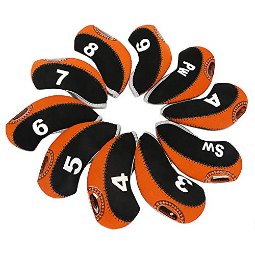 Zenesty wosofe Golf Iron Covers Set for Club Mens Elasticity Protable Selections 10pcs/lot (Black/Orange)