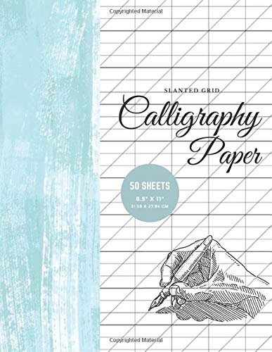 Calligraphy Paper (Slanted Grid) 50 Sheets Modern calligraphy practice paper for Beginners - Art Collection | Shabby Wooden Blue