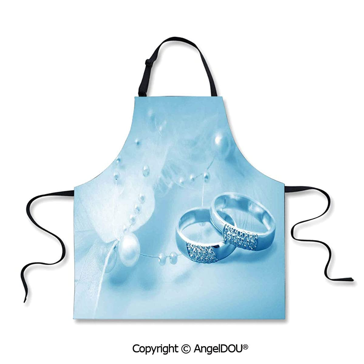 SCOXIXI Printed Unique Cool Kitchen Apron Engagement Wedding Rings with Pearls on Blue Dreamy Background for Grill BBQ Cooking Cosplay Party.