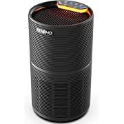 RENPHO Air Purifier for Home Allergies and Pets Hair, Large Room 240 SQ.FT, True HEPA Filter, Quiet Air Cleaner Odor Eliminators in Bedroom for Mold Bacteria, Smoke, Germ, Dust and Pollen, Timer Black