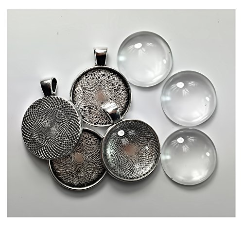 ALL in ONE 10 Sets Cabochon Frame Setting Tray Pendant with Clear Glass Dome Tile for DIY Jewelry Making (20MM Antique Silver#2)