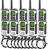 Retevis RT45 2 Way Radio Walkie Talkies Long Range with Earpiece FRS Dual Watch Flashlight Call Tone VOX Business Two Way Radio Rechargeable(10 Pack)