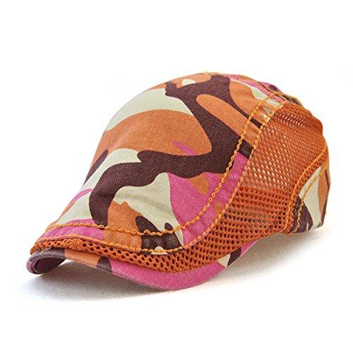 Roffatide Camuflaje Algodón Malla Costura Ajustable Plano Gorra Sombrero de Boina Golf Chapelas