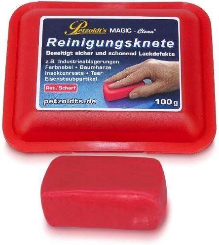 100 Gramm Rote Petzoldt S Profi Reinigungsknete Magic Clean Die Scharfe Lackknete Zur Lackpflege Und Felgenreinigung Auto