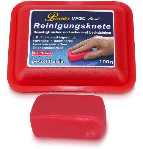100 Gramm rote Petzoldt\'s Profi-Reinigungsknete MAGIC-Clean - die scharfe Lackknete zur Lackpflege und Felgenreinigung