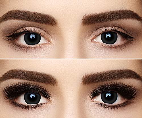 Farbige Kontaktlinsen Jahreslinsen Meralens 1 Paar schwarze Crazy Fun Black Out. Topqualität zu Fasching Karneval Fastnacht Halloween mit Kontaktlinsenbehälter ohne Stärke