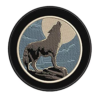 Wolf Moon 3.5  Embroidered Patch DIY Iron or Sew-on Decorative Vacation Travel Souvenir Applique Wildlife Hike Trek Camping Explore Nature Mountain Bear Scout Guide National Park Trails Scout Guide