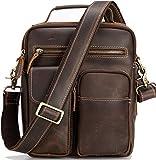 Genuine Leather Messenger Bag for Men Crossbody Shoulder Bags Fits 11' Tablet College School Travel Handbag, Brown