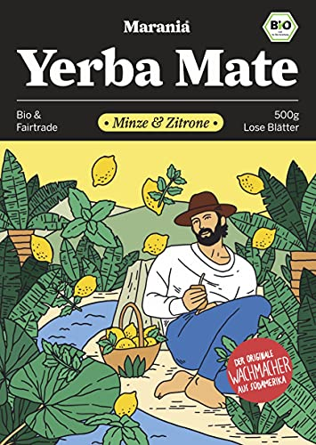 MARANIA® Yerba Mate Tee Bio mit Minze & Zitrone ● 500g Tee lose ● Erfrischender Bio Pfefferminztee lose ● Zitronengras Tee