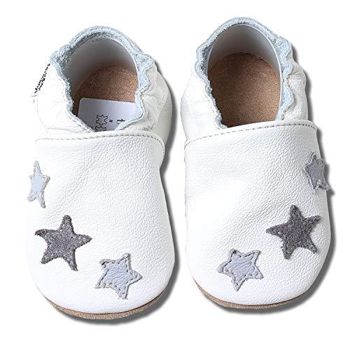 HOBEA-Germany Baby Krabbelschuhe, Lederschuhe, weiß mit 3 Sternchen grau, Schuhgröße:18/19 (6-12 Mon)