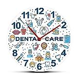 Leeypltm Horloge Murale Silencieuse Vintage Pendule Murale Quartz Ronde Chiffre Grande,Dents dentaires colorées,pour Cuisine/Salon/Chambre/École/Bureau/Hôtel