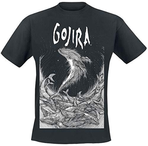 Gojira Woodblock Whales Uomo T-Shirt Nero L 100% Cotone Regular