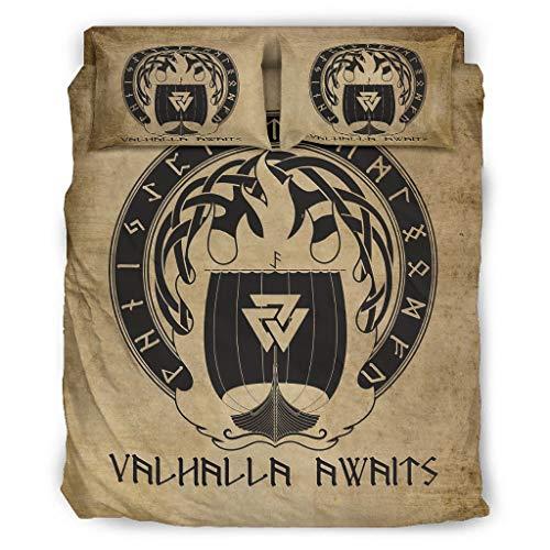 FFanClassic Juego de cama de 4 piezas Viking Valhalla espera individualidad estampado sin arrugas – Sábanas blancas 228 x 228 cm