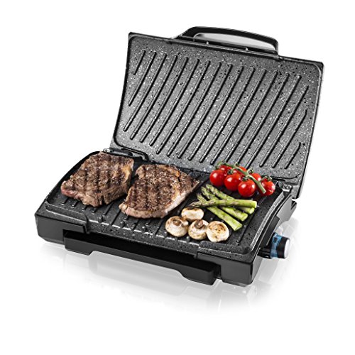Tower Flavour Infusing Health Grill with Built-In Taste-Enhancer, Easy Clean Non-Stick Cerastone Coated Plates, 3 Heat Settings, Non-Slip Feet and Cool Touch Handle, 1600 W, Black