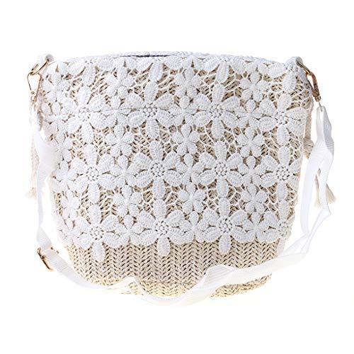 PHILSP Shoulder Bag Bamboo Handbag Straw Lace Woven Travel Sling Bag Shoulder Crossbody Bag for Wome 1#