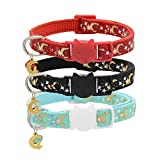 Cat Breakaway Collars with Bell and Moon Pendant, Adjustable Safety Puppy Collars, Glow in The Dark
