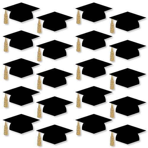 Big Dot of Happiness Gold - Tassel Worth The Hassle - Graduation Hat Decorations DIY Graduation Large Party Essentials - 20 Count