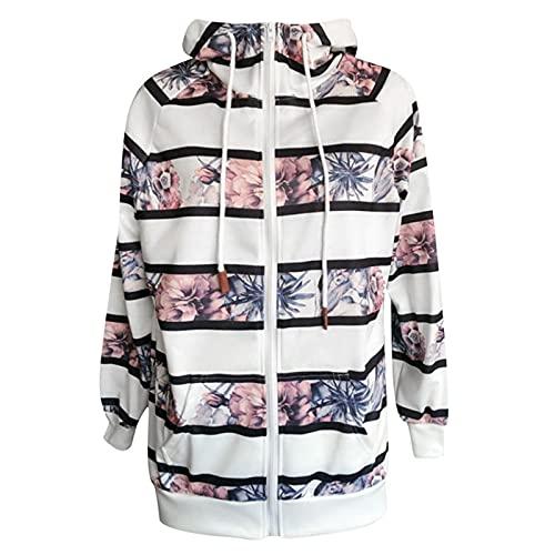 Women's Contrast Color Long Sleeve Zipper Sweatshirt Coat Casual Turtleneck Hooded Outerwear
