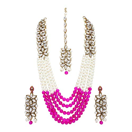 CROWN JEWEL Bollywood Indian Fashion Wedding Pearl Gold, Pink, Size No Size