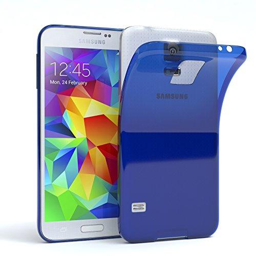 EAZY CASE Hülle kompatibel mit Samsung Galaxy S5 / S5 LTE+ / S5 Duos / S5 Neo Schutzhülle Silikon, Ultra dünn, Slimcover, Handyhülle, Silikonhülle, Backcover, Durchsichtig, Klar Blau