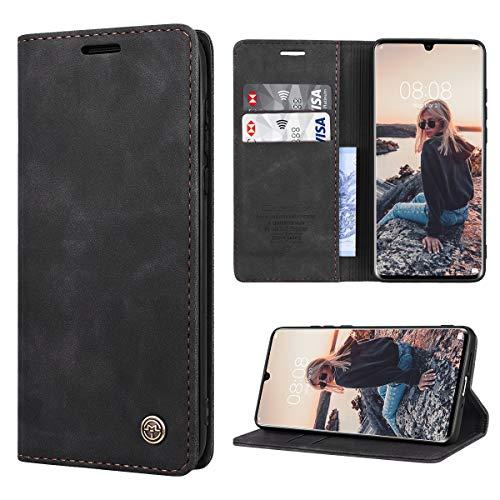 RuiPower Handyhülle für Huawei P30 Pro Hülle Premium Leder PU Flip Magnet Wallet Klapphülle Silikon Bumper Schutzhülle für Huawei P30 Pro/Huawei P30 Pro New Edition Tasche - Schwarz