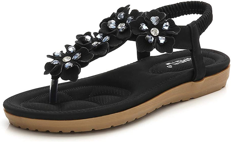 Women's Beach shoes, Rhinestone Design Thongs Sandals Bohemian Beaded Flat Strap Clip Toe Sandals Summer Walking shoes