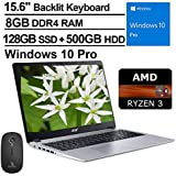 2020 Acer Aspire 5 15.6 Inch FHD 1080P Laptop| AMD Ryzen 3 3200U up to 3.5 GHz| 8GB RAM| 128GB SSD (Boot) + 500GB HDD| Backlit KB| Bluetooth| Webcam| Win10 Pro + NexiGo Wireless Mouse Bundle