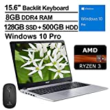 2020 Acer Aspire 5 15.6 Inch FHD 1080P Laptop| AMD Ryzen 3 3200U up to 3.5 GHz| 8GB RAM| 128GB SSD (Boot) + 500GB HDD| Backlit KB| Bluetooth| Webcam| Win10 Pro + NexiGo Wireless Mouse Bundle